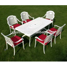 White aluminum frame chairs garden outdoor dining sets with square table