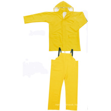 Yellow Color PVC / Polyester Waterproof Two-Piece Rainsuit