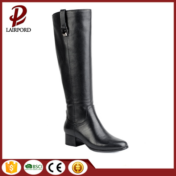 women real leather mid-calf long flat boots