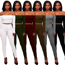 C4046 Fashion solid color one-shoulder high-elastic thread print 2 piece pant set for women clothing