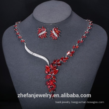Wedding necklace fine jewelry set garnet red thailand costume jewelry for sale