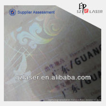 ID card laminating pouch film, hologram effect