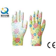 Guantes de jardín, impresión Polyestershell transparente Nitrilo revestido acabado suave, guantes de trabajo de seguridad (N6050)