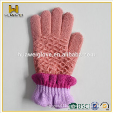 Winter kid's 100% wool knitted gloves with soft fleece lining