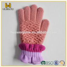 Luvas de malha de lã 100% lã de inverno com forro de lã macia