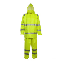 Mens Hivis Rainwear Resistant Hooded Jacket