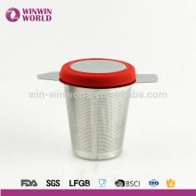 Brew-in-mug Tetera Extra Fine Mesh Tea Tamiz Infuser Steeper con tapa y mango para vasos de té de grano suelto, Tazas