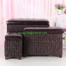 Fußhocker Aufbewahrungshocker Ottoman Bench 3 Stück Leder Cube Aufbewahrungshocker Rattan Bulrush Polsterwebart Rahmen Sitz,