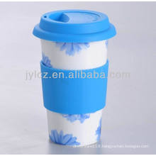 400cc porcelain travel tumbler with silicone band and lid