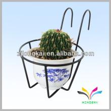 Instalação de jardim exibição de metal ao ar livre suspenso carrinho de cesta de flores para suportes de pote