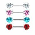 Straight Barbell Gem Heart Front-facing Ends