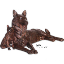 Outdoor Emulational Bronze Wolf Sculpture for Sale