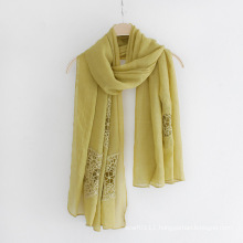 Lady Fashion Plain Color Lace Flower Cotton Long Scarf (YKY1121)