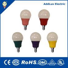 Bulbo colorido do diodo emissor de luz do cUL FCC-RoHS 120V 3W E26 E27 do UL cUL