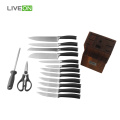 Stainless Steel Kitchen Knife Set Wooden Block