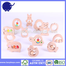 baby toy Natural Wooden Organic Teether with customize shape