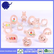 Персонализированная органическая деревянная игрушка младенца погремушки