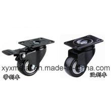 Medium Duty Caster Rotating Caster. Double Bearing Electroplate Black Plate, Mute Design., PU Castor
