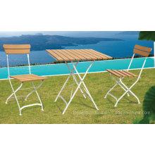 Patio classique en plein air Ensemble de meubles pliants Polywood Jardin en métal Chaises de table de loisirs