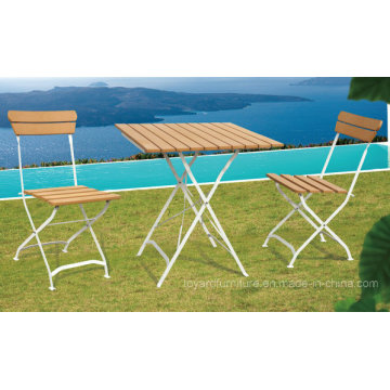 Classical Outdoor Patio Polywood Folding Furniture Set Metal Garden Leisure Table Chairs