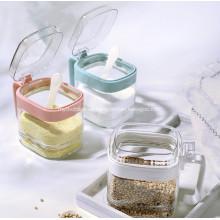 Conjunto de caja de condimento de tarro de condimento de vidrio transparente