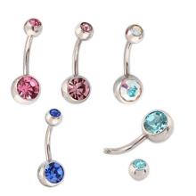 Fournitures de bijoux Fournitures Double Cristal Titanium Body Navel Ring Piercing Bijoux