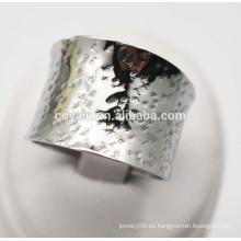 Acero de la joyería de la manera de las mujeres Anillo de plata ancho grande grande curvado