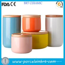 Recipiente de cerámica de azúcar café té vidrio colorido con tapa de bambú
