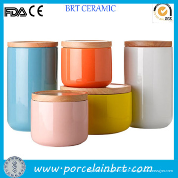 Thé glacé coloré café sucre boîte métallique en céramique avec couvercle bambou