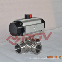 Sanitary clamp type stainless steel 3 way ball valve 2''