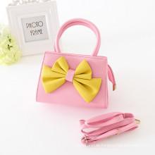 Kinder einteilige Mädchenhandtaschen-Mädchenminzengelbdunkelrosa / -rosa bauscht sich mit großen Bogen-Tagesgebrauchssüße reizende Handtaschen