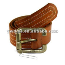 Wide Plain Genuine Leather For Man With Roll Buckle