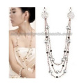 Faux Pearl Flower Long Chain Sweater Chain Fashion Necklace