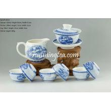 Pintura da cena do beira-rio no jogo de Teaware do festival de Qingming, Gaiwan, jarro & 6 copos