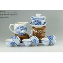 Painting of Riverside Scene at Qingming Festival Teaware Set, Gaiwan, Pitcher & 6 Cups