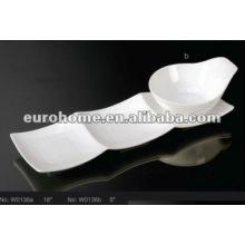 Weiße keramische Nistschale mit Untertasse (Nr. W0136)