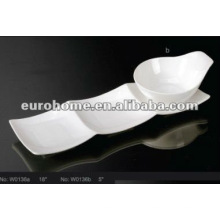 Белая керамическая миска для рассады с блюдцем (№ W0136)