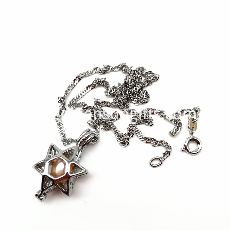 Star Cage Pendant Necklace with Water Wave Chain Necklace