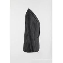 Black-white vertical stripe woven suit