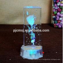 Cristal laser 3D avec image de dessin animé pour les cadeaux de la Saint-Valentin