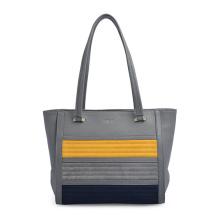 Handmade Gray Leather Tote Oversize Shoulder Bag