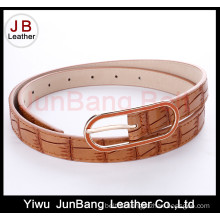 Women′s Fashion Crocodile Grain PU Belt