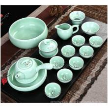 Celadón chino pintado a mano, juego de té de cerámica
