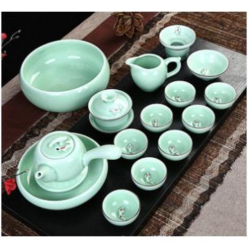 Céladon de Chine peint à la main, ensemble de thé en céramique
