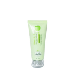 Tubo plástico verde do cosmético do aperto 100ml quadrado