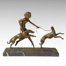 Nude Figure Statue Chien Fille Bronze Sculpture TPE-323