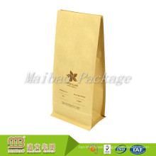 Factory Supplier Heal Sealing Plastic Lined Flexible Packaging Custom Printing Flat Bottom Kraft Paper Pouch