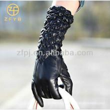 wholesale fashion skin tight sheepskin women cheap long leather gloves