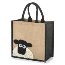 Jute Hessian Burlap Medium Animal Tote Shopping Bag Folding Reusable Bag for Life