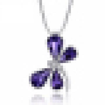 Австрийский Кристалл аметиста Кулон Бабочка Гарантия твердого стерлингового серебра 925 для женщин ожерелье ювелирные изделия